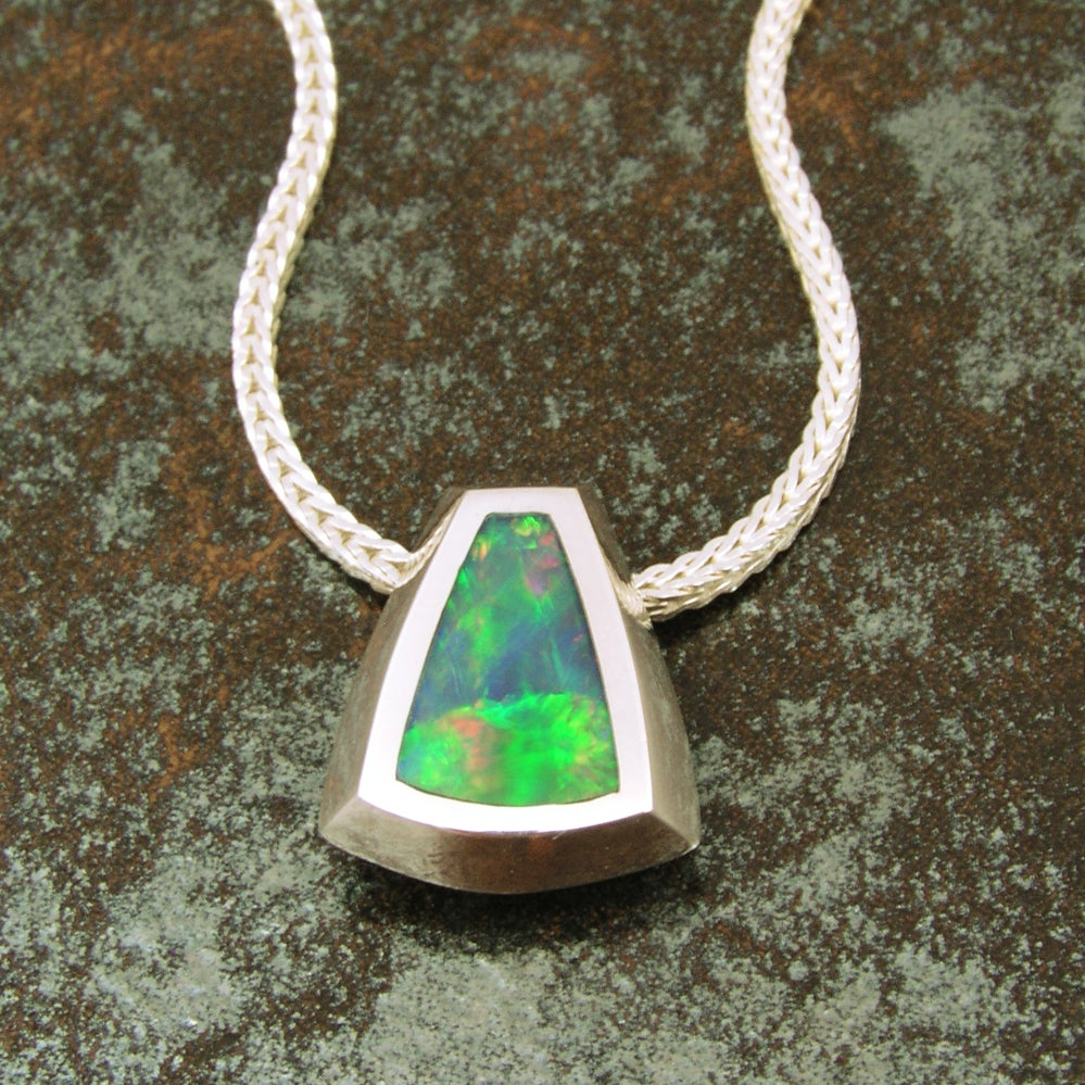 Image of Inlaid Australian opal sterling silver pendant