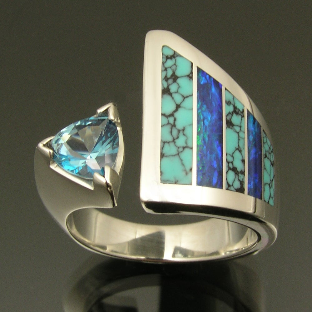 Image of Spiderweb turquoise and Australian opal inlay ring with blue topaz