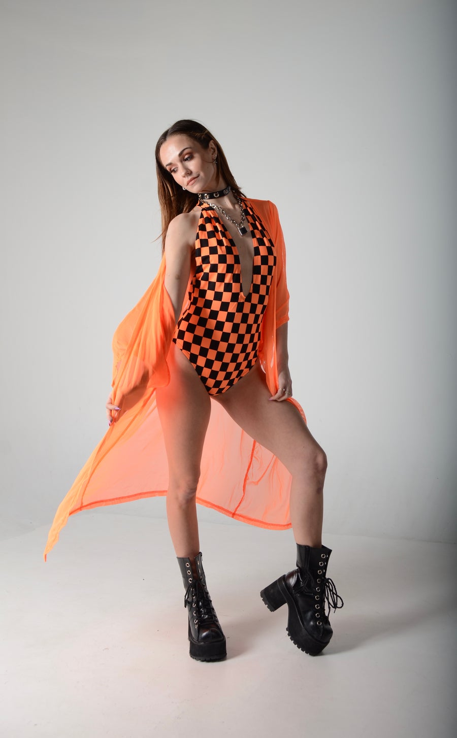 Image of Orange Checked Deep V Bodysuit