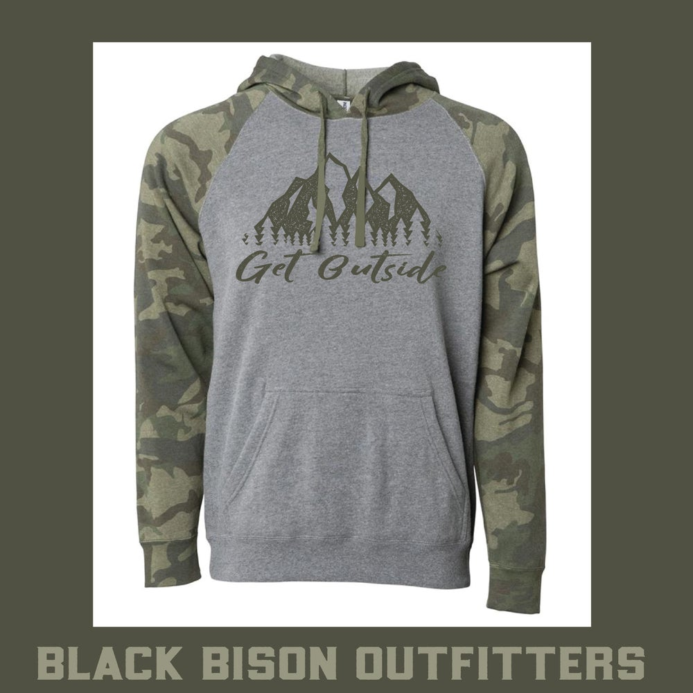 Image of Limited Edition Camo Raglan Get Outside Hoodie