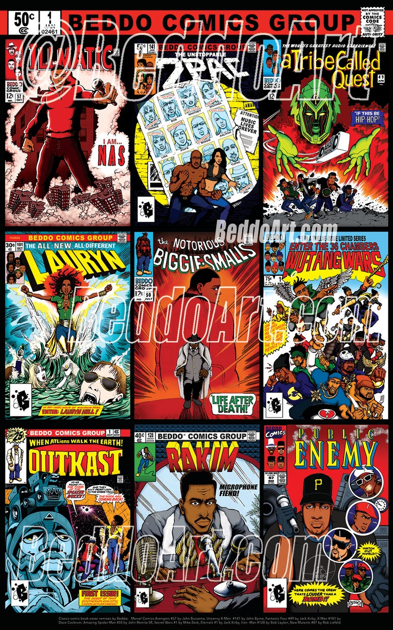 Image of Hip Hop Comic Covers print / poster by Beddo