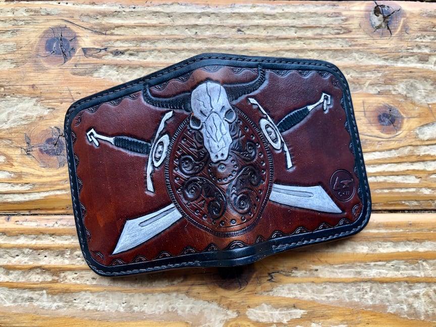 "Image of ""Bull Shield"" Custom Bi-Fold Wallet"