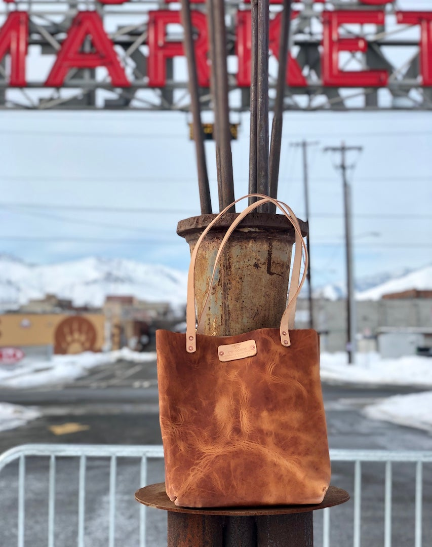 "Image of ""Farmers Market"" - Leather Tote Handbag in Horween Rancho Brown Dublin"