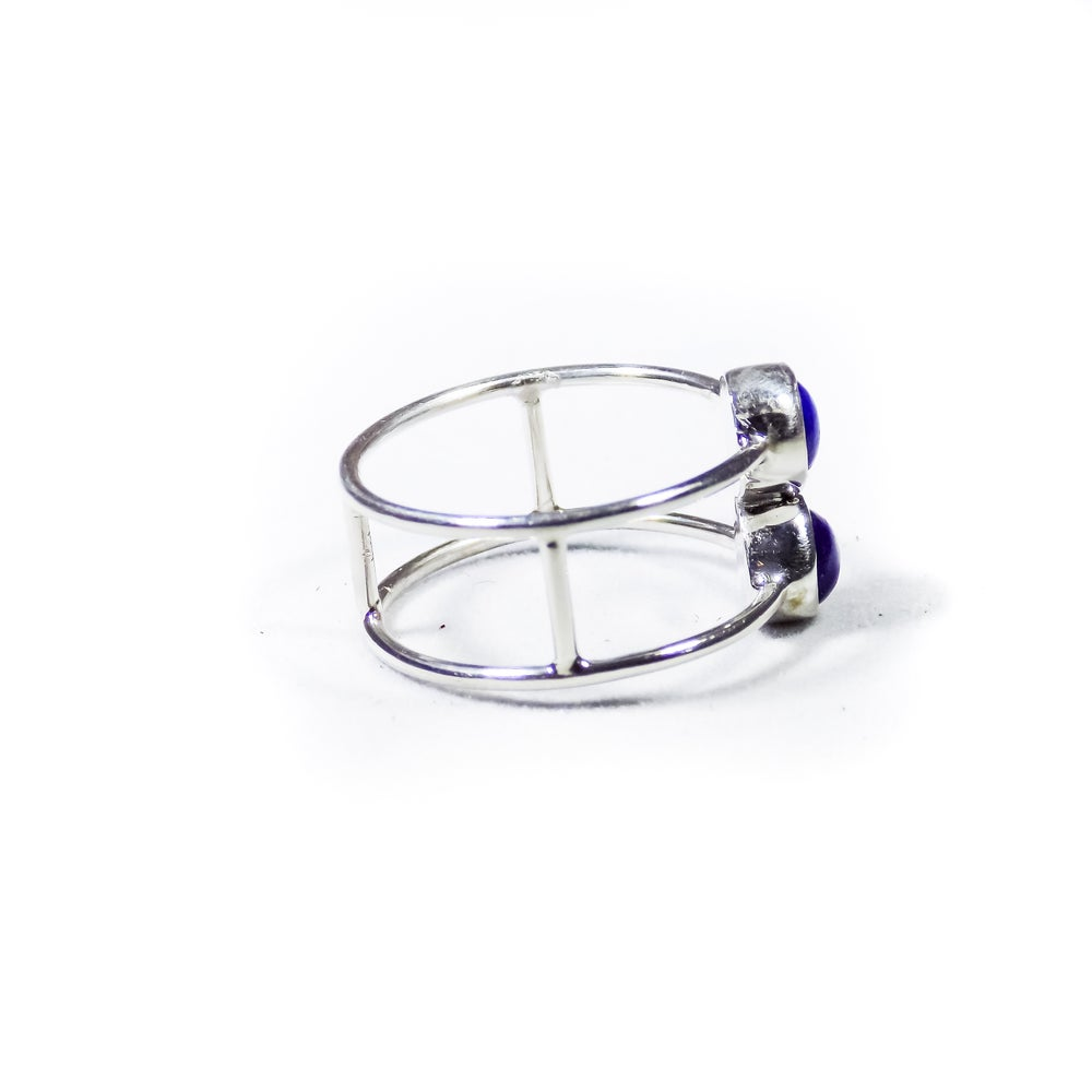 Image of Double Stone Lapis Ring- silver