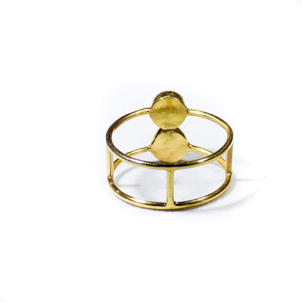 Image of Double Stone Amazonite/Natural Prehnite Ring- gold