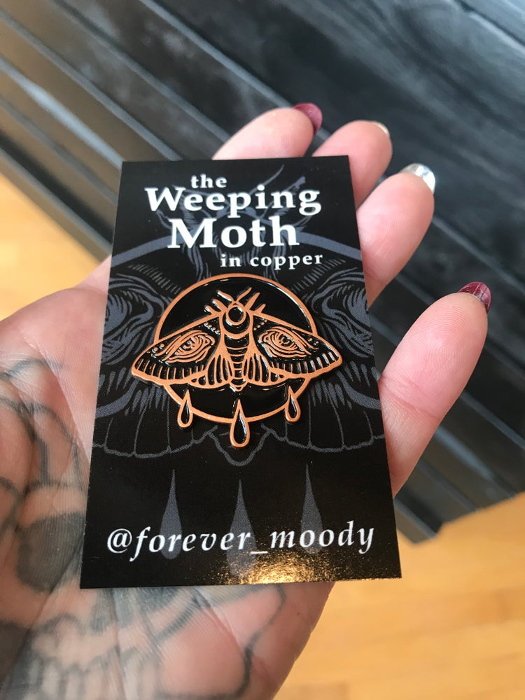 Image of Copper Weeping Moth Pin