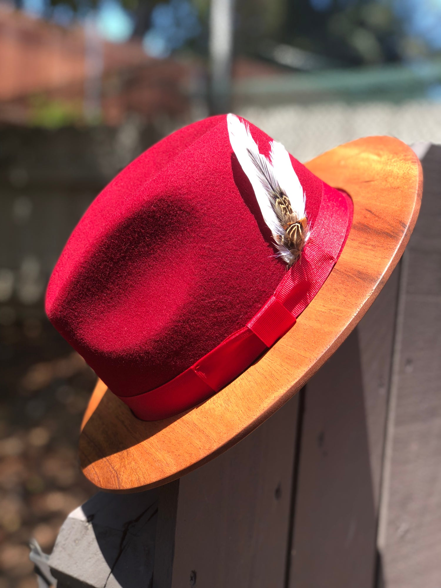 7805b4f5a0196 Image of Mahogany Wood Brim Fedora in Red