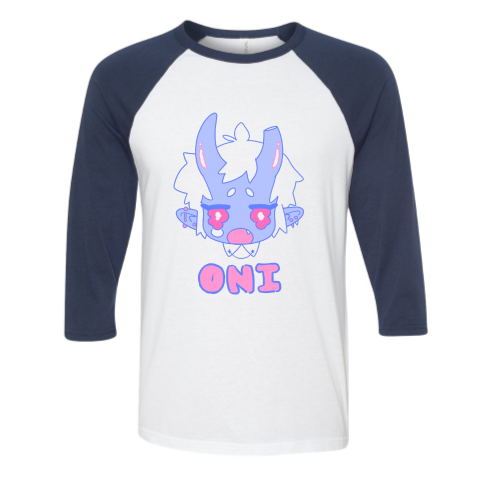 Image of BLUE ONI baseball tee