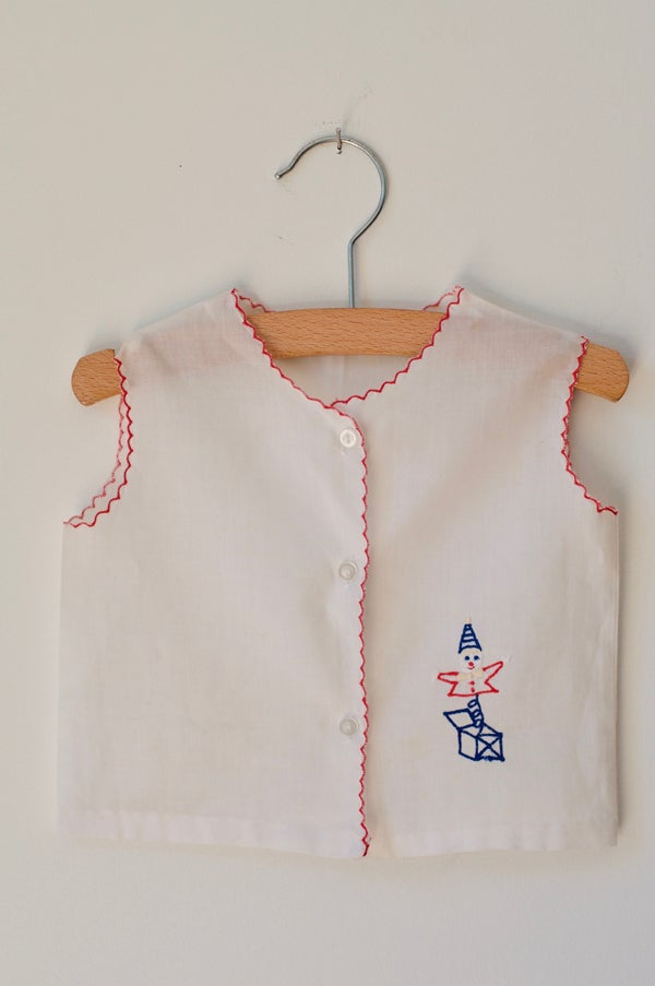 Image of Embroidered Cotton Vest - White