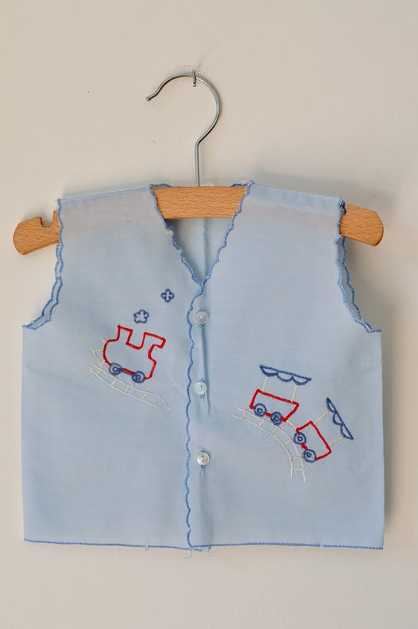 Image of Embroidered Cotton Vest - Sky Blue