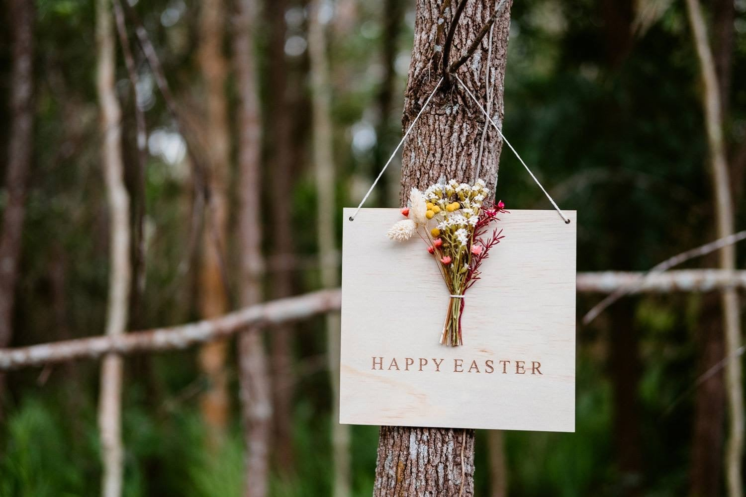 "Image of WILDFLOWER ""HAPPY EASTER"" PLAQUE or choose your own custom wording"