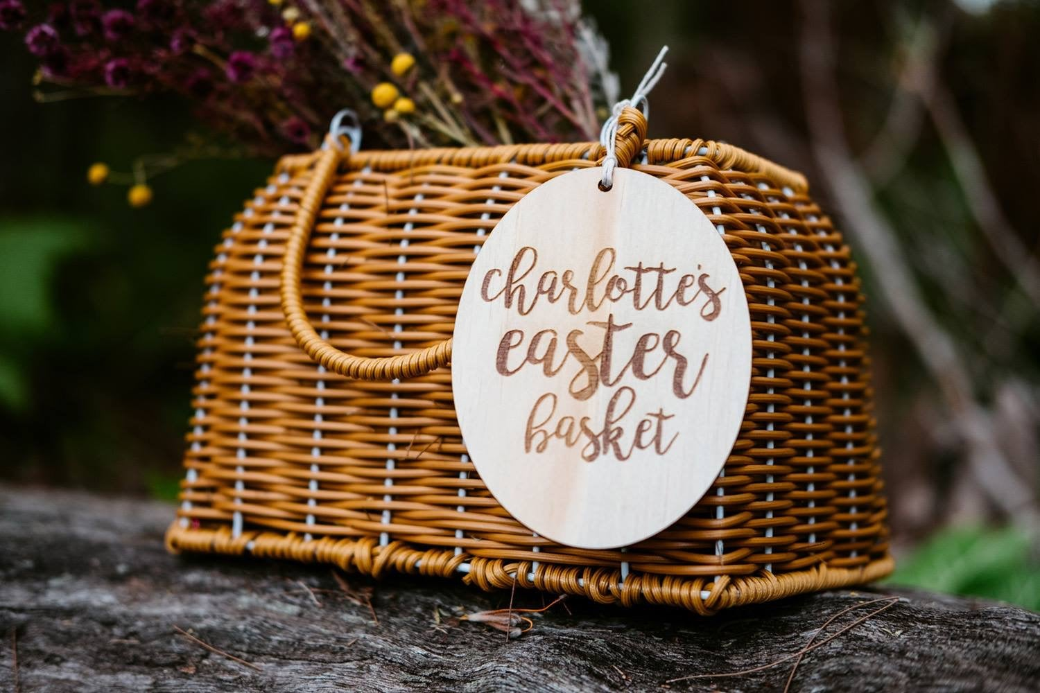 Image of PERSONALISED SCRIPT EASTER BASKET TAG or SPIKE