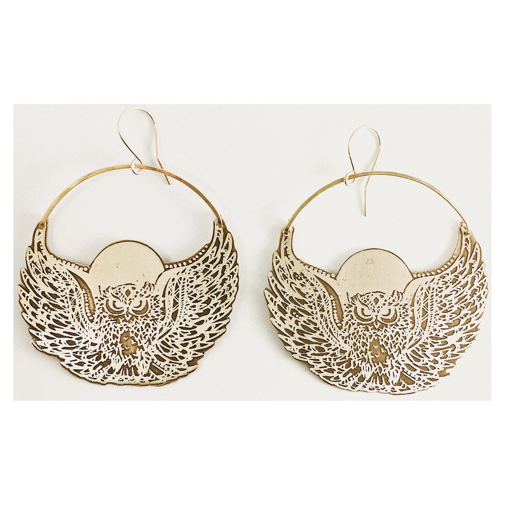 Image of Moon Owl Earrings
