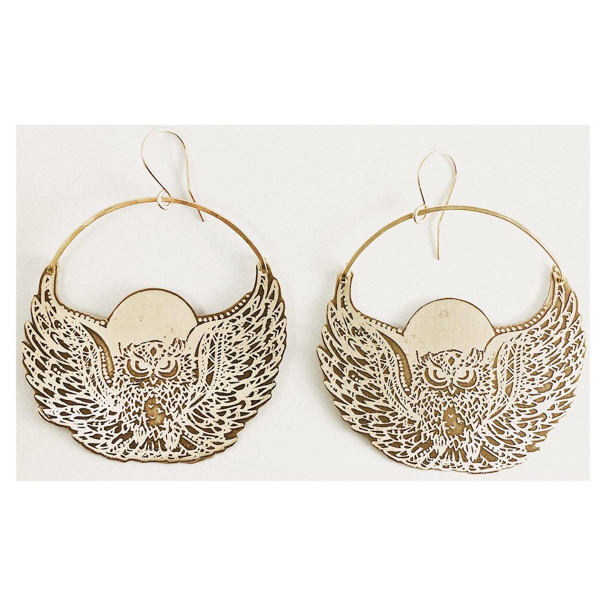 Image of Moon Owl Earrings