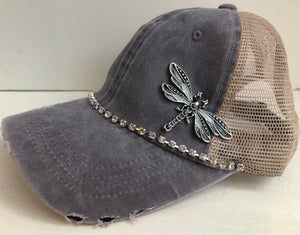 Image of Acid Washed Trucker Hat Crystal Black Dragonfly