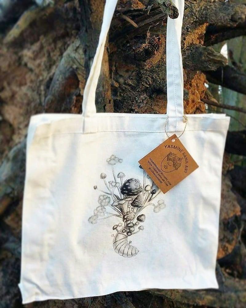 Image of Cicada & Mushrooms Flat Bottom Tote Bag