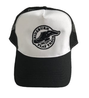 Image of Flat Track Trucker Cap - WHITE/BLACK