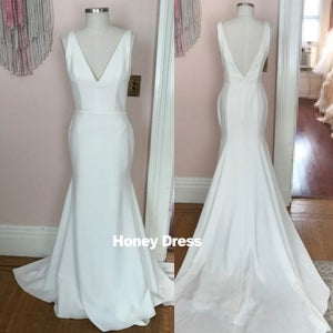 Image of Ivory White V-Neck Side Cut Outs Mermaid Long Prom Gown, Evening Dress With V-Back Long Train
