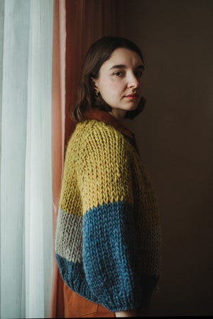 Image of Perth Cardigan Limited (Ochre, Denim, & Fawn)