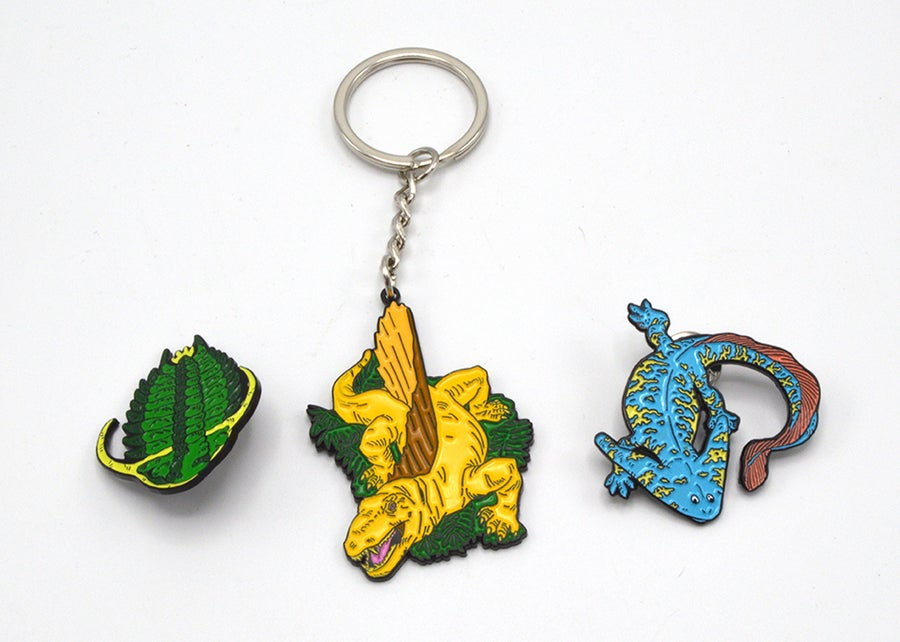 Image of Paleozoic pin and keychain set