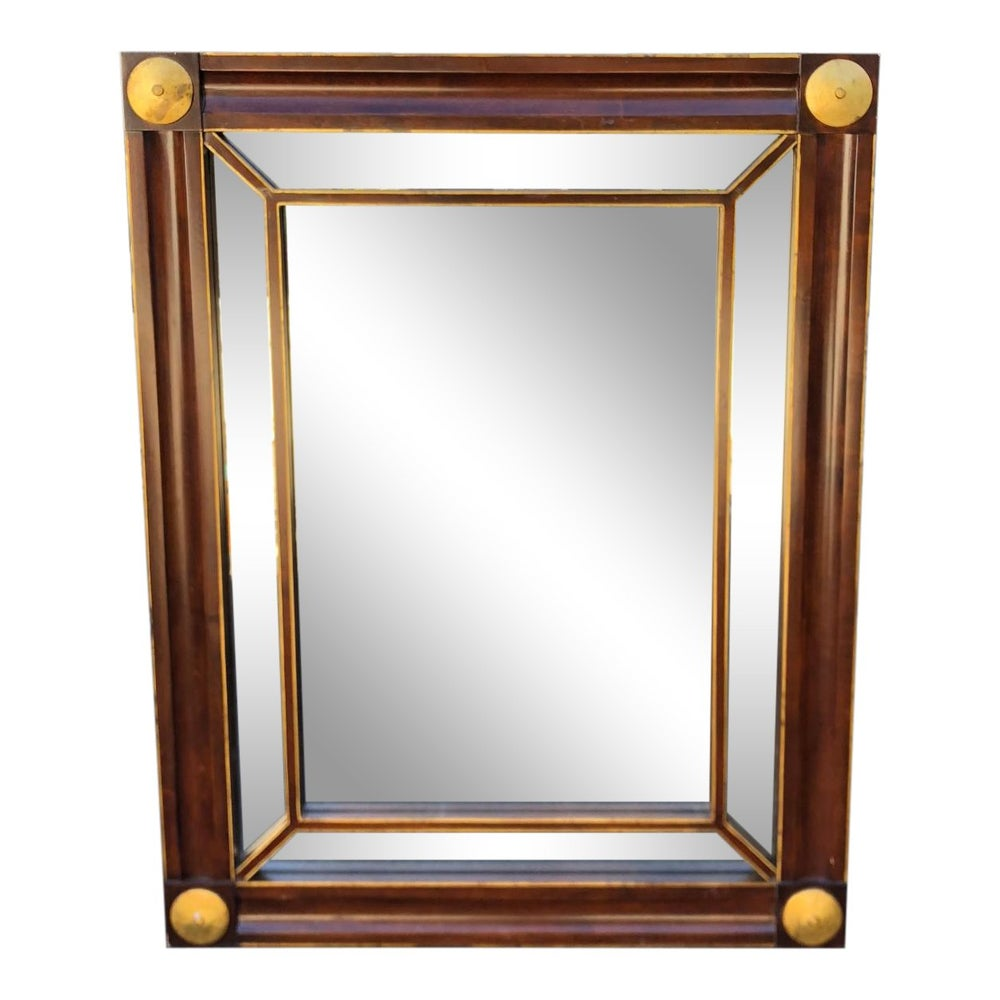 Image of Signed Baker Furniture Company Mahogany & Gilt-Wood Mirror