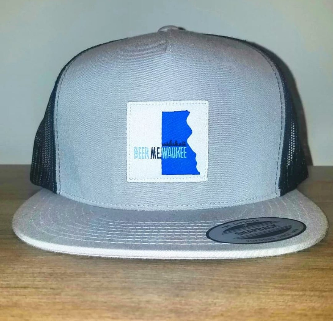 Image of Gray & Black Netted Snapback