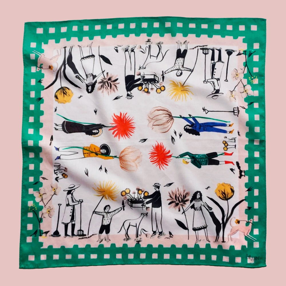 Image of Flower Pickers Cotton Handkerchief