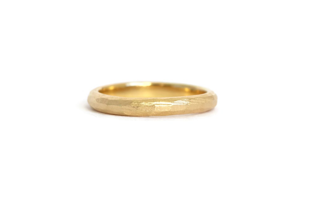 Image of 18ct Gold Narrow Textured Wedding Band