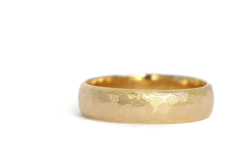 Image of 18ct Gold Wide Textured Wedding Band