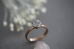Image of NEW 18ct Rose Gold, Brilliant cut grey diamond ring IOW100