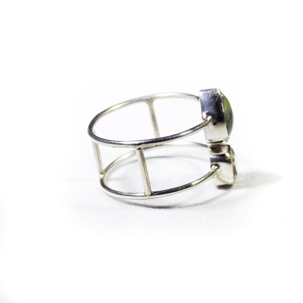 Image of Double Stone Green Amethyst/Natural Prehnite Ring- silver