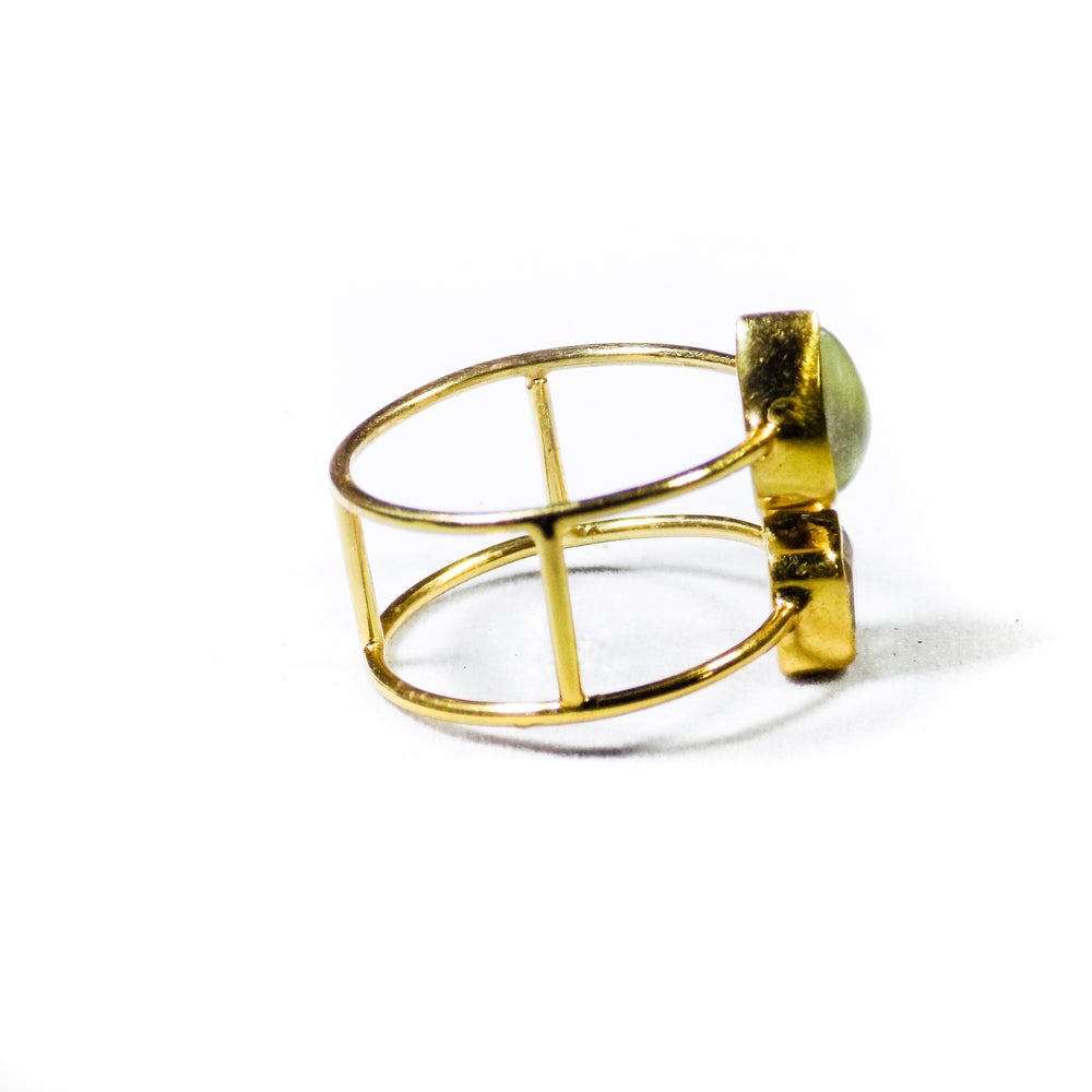 Image of Double Stone Amethyst/Natural Prehnite Ring- gold