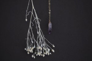 Image of amethyst crystal necklace in gold or silver