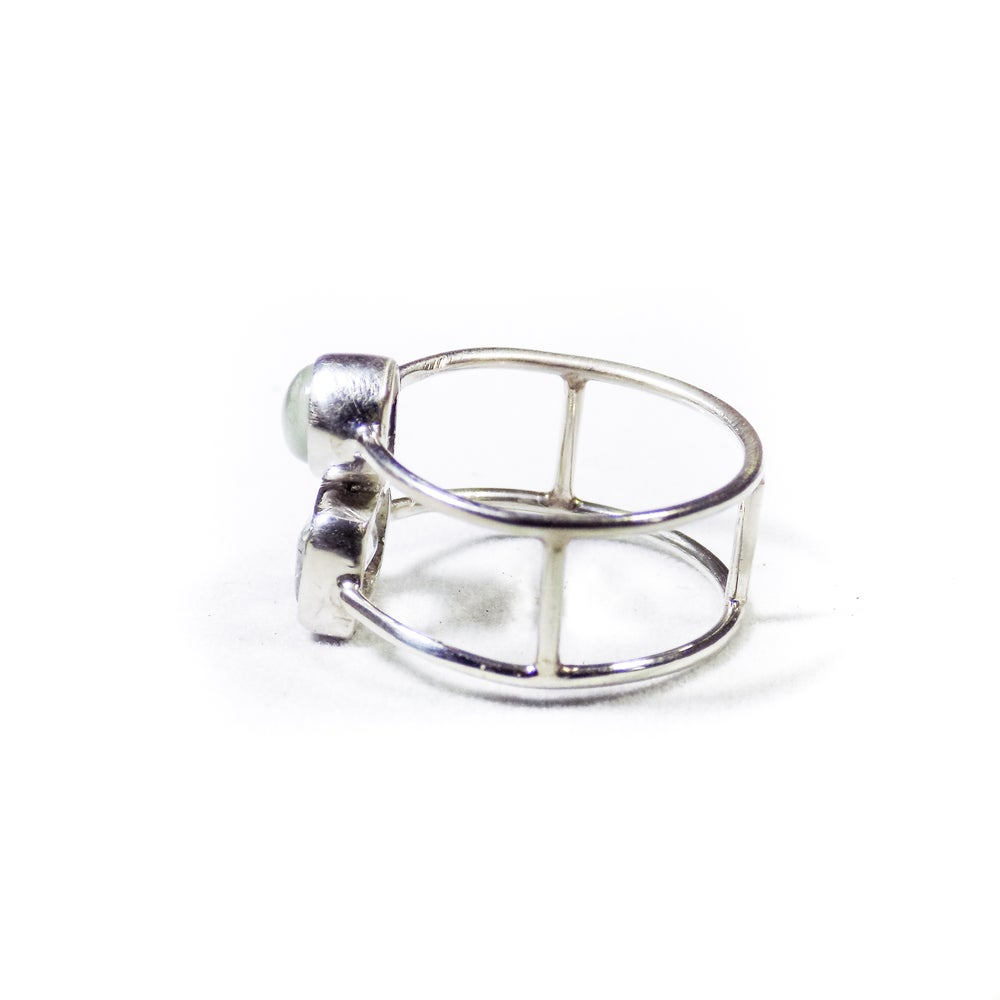 Image of Double Stone Green Amethyst/Natural Prehnite Ring 3- silver