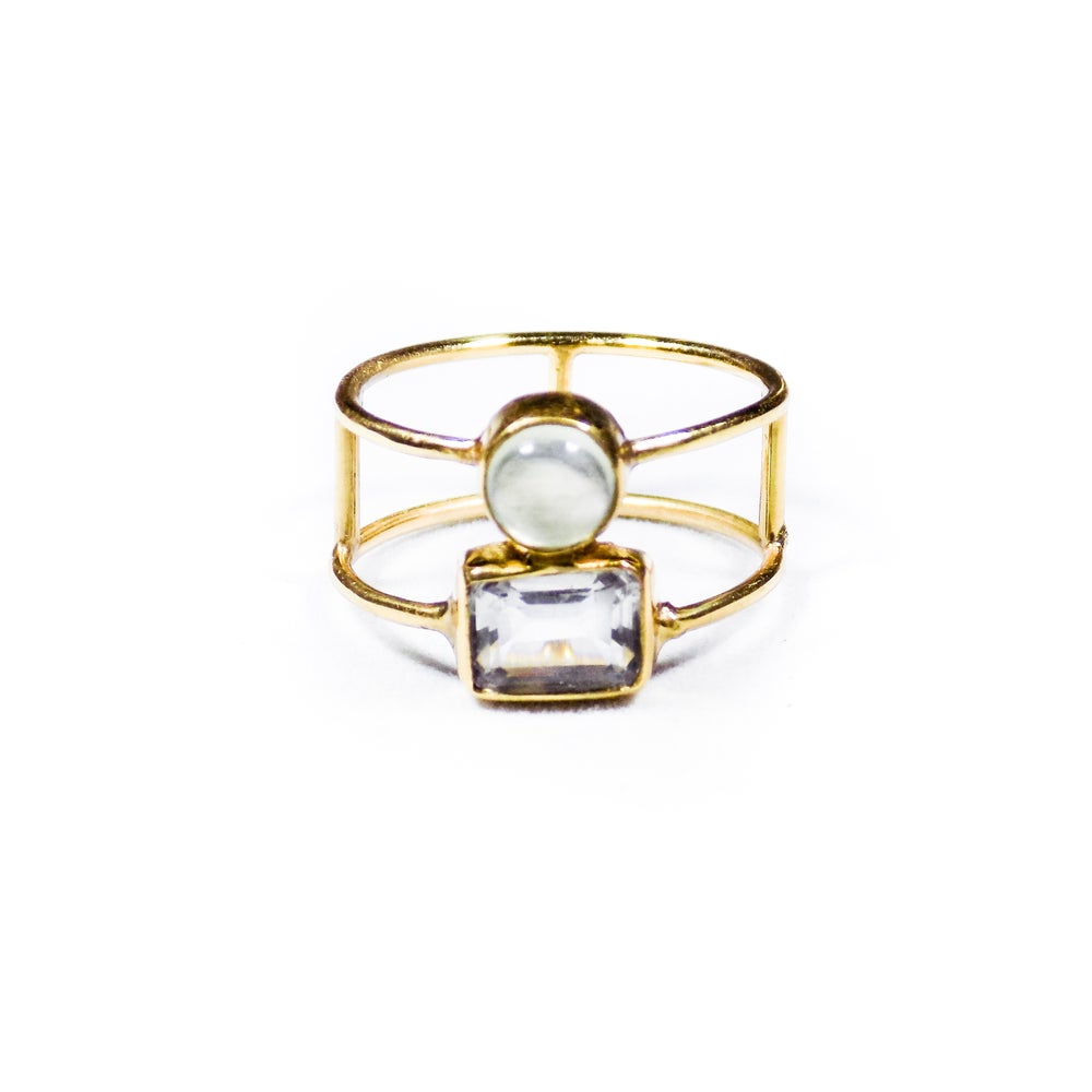 Image of Double Stone Green Amethyst/Natural Prehnite Ring 2- gold