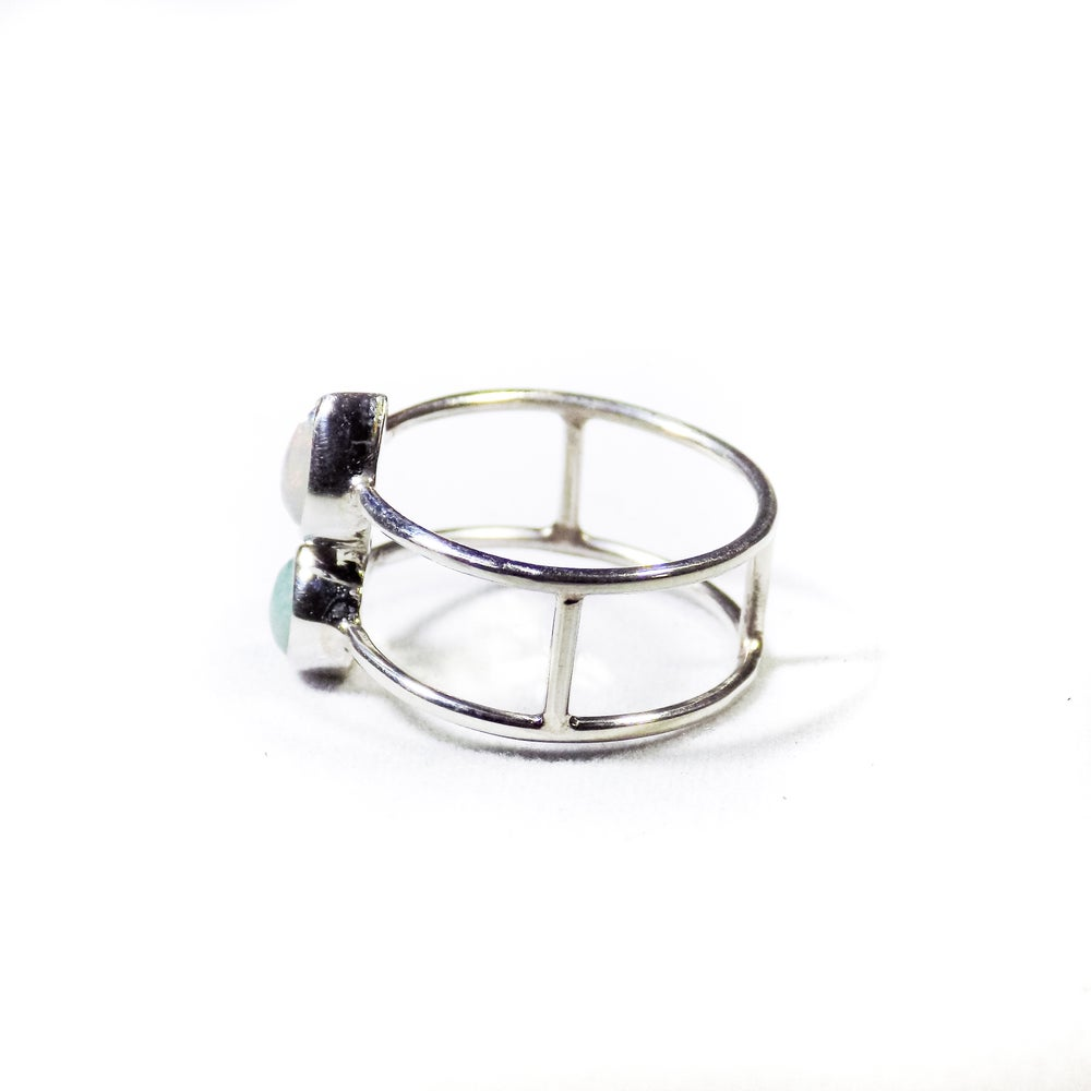 Image of Double Stone Opal/Amazonite Ring- silver