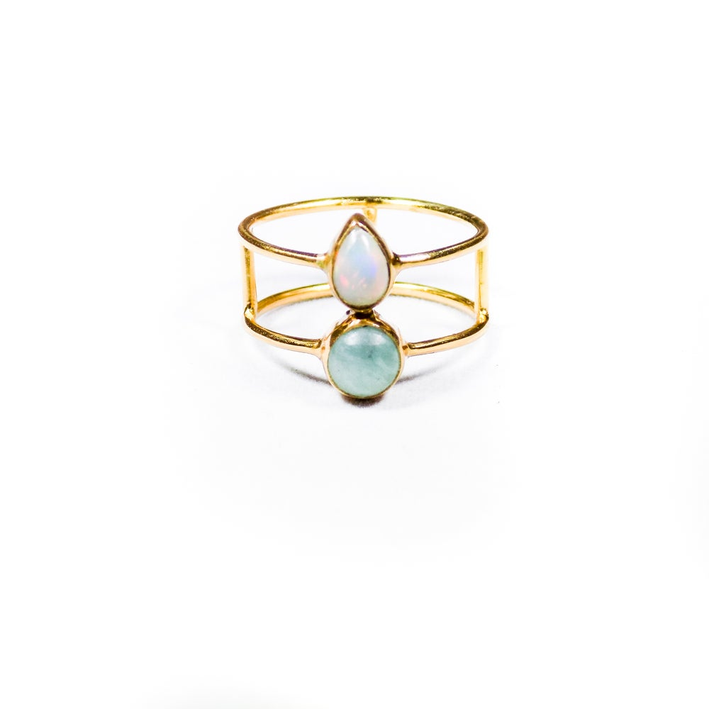Image of Double Stone Opal/Amazonite Ring 2 - gold