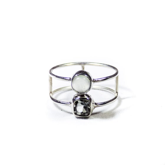 Image of Double Stone Green Amethyst/Natural Prehnite Ring 2- silver