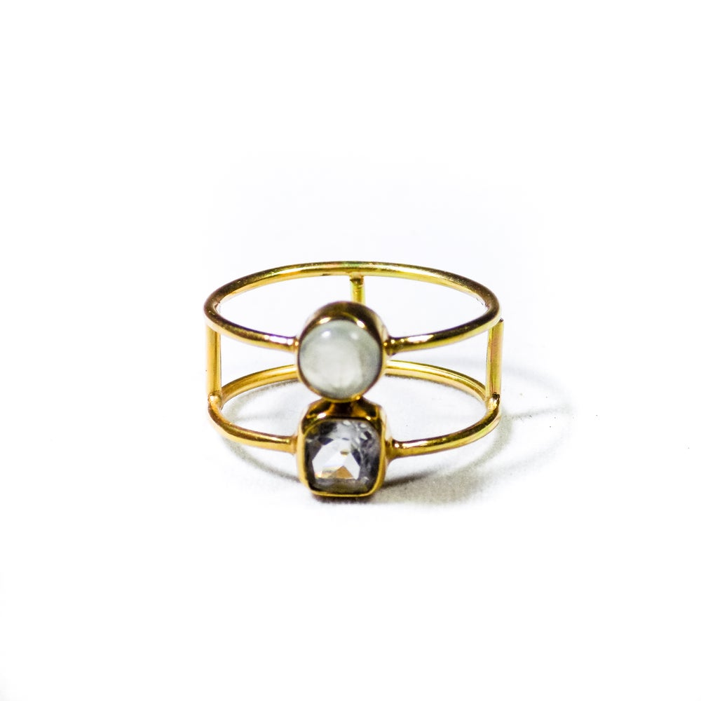 Image of Double Stone Green Amethyst/Natural Prehnite Ring- gold