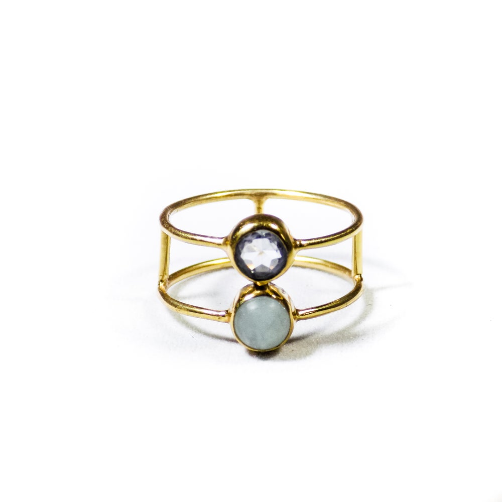 Image of Double Stone Amazonite/Topaz Ring- gold