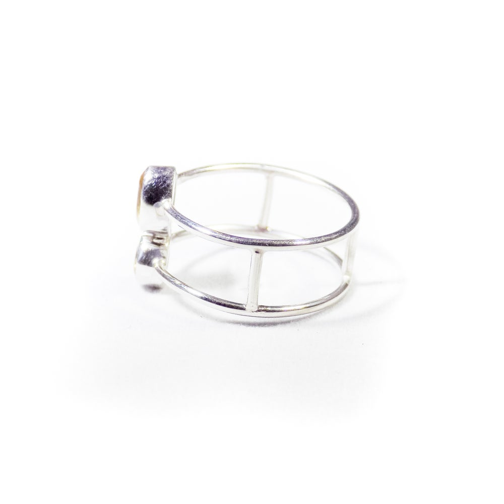 Image of Double Stones Whiskey Quartz Ring-silver