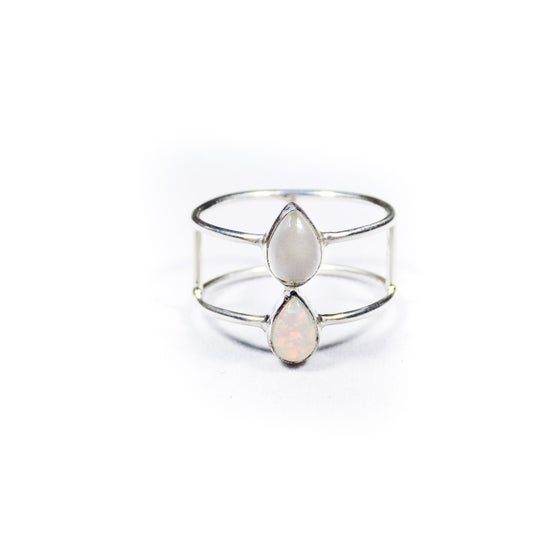 Image of Double Stone Opal/Natural White Moonstone Ring - silver