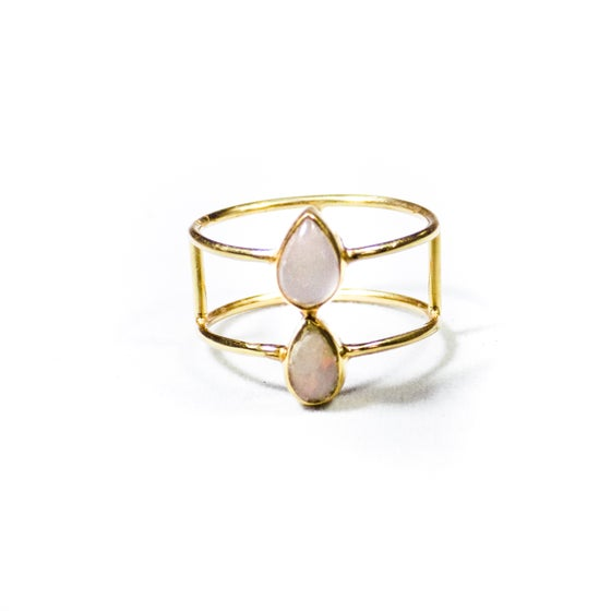 Image of Double Stone Opal/Natural Moonstone Ring- gold