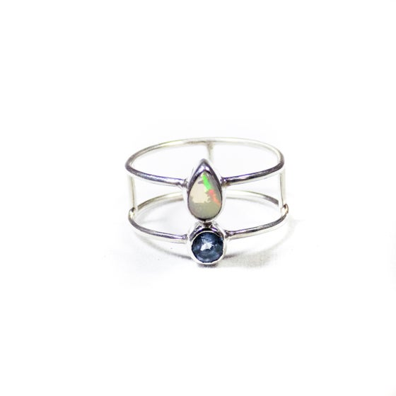 Image of Double Stone Opal/Blue Topaz- silver
