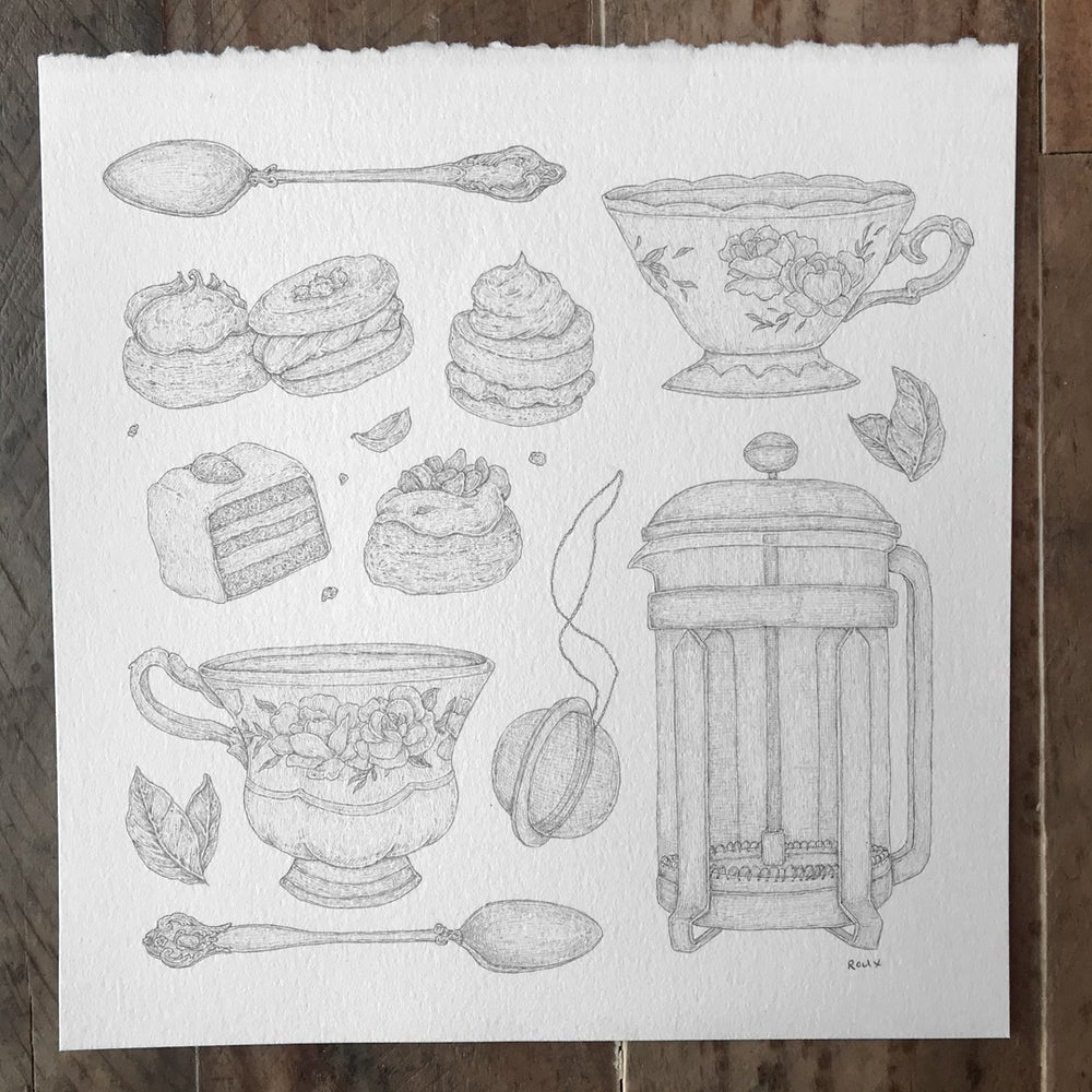 Image of Original Graphite Drawing: Tea Time Collection
