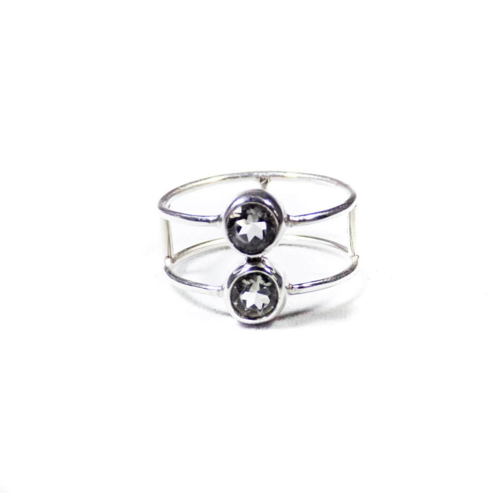 Image of Double Stone Green Amethyst Ring - silver