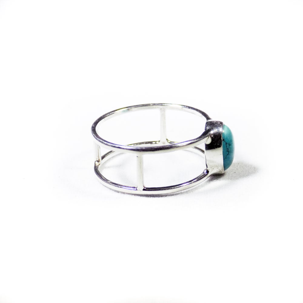 Image of Single Stone Double Band Turquoise Ring- silver