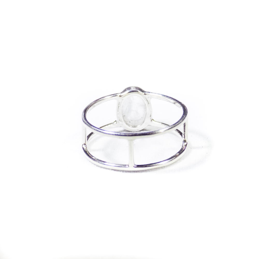 Image of Single Stone Double Band Rainbow Moonstone Ring - silver