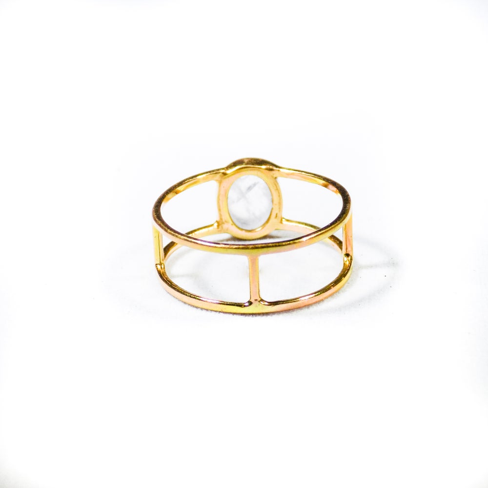 Image of Single Stone Double Band Rainbow Moonstone Ring- gold