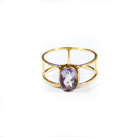 Image of Single Stone Double Band Pink Amethyst Ring- gold